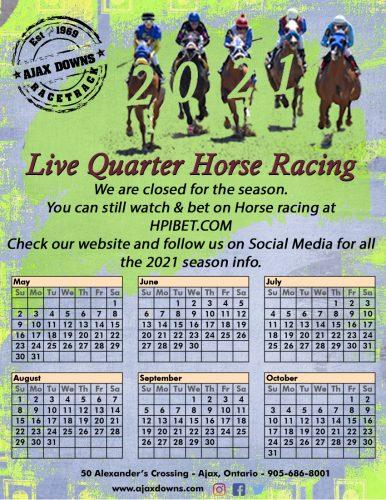 Ajax Downs Race Schedule